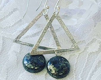 Hammered Triangle Sterling Silver Earrings with Pyrite in Agate ~ Money Magick Earrings ~ Crystal Power Energy ~ Spiritual Energy