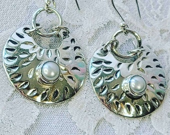 Hammered Round Sterling Silver Earrings with Biwa Pearls ~ Crystal Power Energy ~ Spiritual Energy