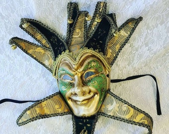 """Vintage Green and Gold 22"""" Venetian Plaster Mask ~ Made in Italy ~ Harlequin Mardi Gras Halloween Mask ~ Collector's Mask"""