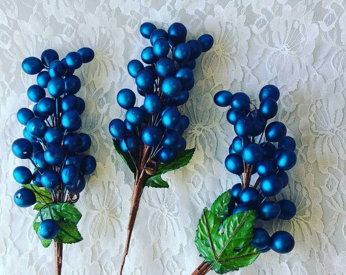 Set of Three (3) Vintage Victorian Style Beaded 7 Inch Blueberry Bunches ~ Wreath or Tree ~ Floral Picks ~ Holiday Decoration Romantic