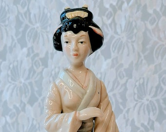 Vintage Japanese Bisque Porcelain Geisha Figurine ~ Not Signed ~ Woman Holding Musical instrument ~ Art Pottery