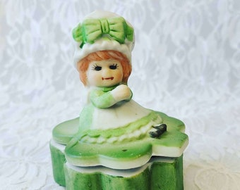 VIntage Irish Girl Trinket Box ~ March Birthday ~ Fantastic Irish Gift ~ Marked Lego Taiwan ~ Shamrock Trinket Box ~ Ceramic