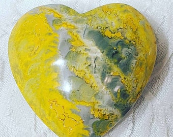 """No Reserves! Hand Carved Bumblebee Jasper HEART ~ 1.75""""x 1.75"""" ~ Spellcast ~ Reiki Charged ~"""