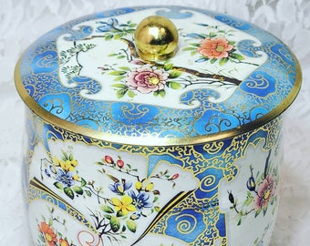 Large English Tea Tin ~ Made in England ~ Canister ~ Vintage Daher Container Tea Biscuit Tin ~ Art Floral Blue
