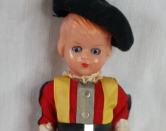 Vatican Guard ~ Hard Plastic 1950s Vintage 6 Inch Celluloid Boy Doll ~ Jointed Arms & Legs ~ Painted Legs ~ Sleepy Eyes