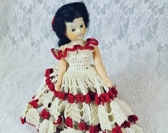 "Antique 8"" Doll Mohair ~ Sleepy Eyes ~ Crochet Dress ~ Molded Shoes ~ Dress Me Doll ~ 1950s Dolls of the World? Duchess?"
