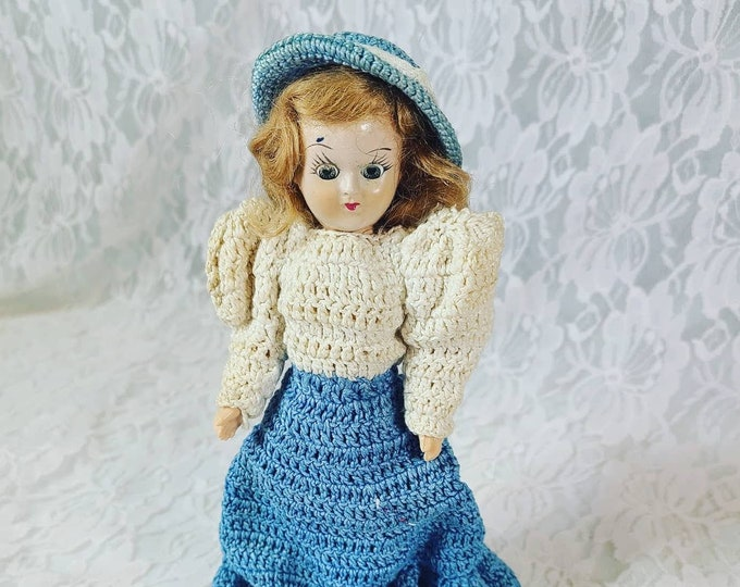 "Antique 8"" Doll Mohair ~ Sleepy Eyes ~ Crochet Dress ~ Molded Shoes ~ Dress Me Doll ~ 1950s Dolls of the World? Duchess?"