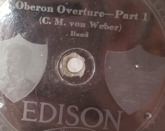 """Antique Edison Record ~ Oberon Overture Parts I and II ~ Great Condition 10"""" ~ 78 RPM ~ No Sleeve ~ Own a Piece of History from the 1920s"""