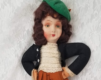 SCOTLAND Scottish Lenci Type Stockinette Doll ~ Outlander Doll ~ Claire Fraser Doll ~ Felted Doll ~ OOAK Doll