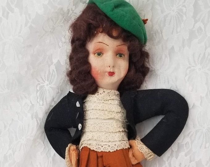 SCOTLAND Scottish Lenci Type Stockinette Doll ~ Outlander Doll ~ Claire Fraser Doll ~ Felted Doll ~ OOAK Doll
