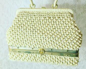 RARE! Vintage 1940s/1950's Beige Beaded Lower Compartment Box ROCKABILLY Clutch Purse Handbag ~ Gladys Golden ~ Master Gigi