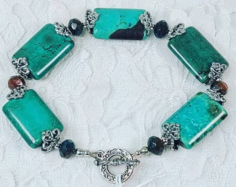 OOAK Plus Size Bracelet ~ Large Blue Green Chrysoprase Beads and Amber Czech Glass Beads & Sterling Silver Bali Bead Accents