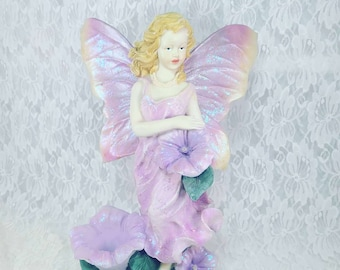"""BIG Fairy Resin Statue ~ Garden Faerie ~ 16"""" Flower Fairy ~ Outdoor or Indoor Decoration ~ Heavy Resin ~ Recently Repainted and Glittered"""