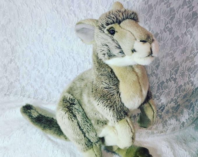 "Vintage FAO Schwartz 17"" Plush Stuffed Kangaroo Joey Doll with Front Pouch Stash Pocket"