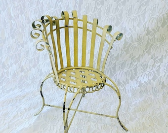 """Vintage Metal Chair 14""""-20"""" Doll Sized ~ 9.25"""" High 7"""" wide 4"""" Deep ~ For Dolls or Plants"""