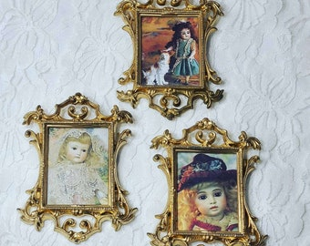 """Set of Three Miniature Doll Sized Framed Antique Doll Pictures ~ Ornate Gold Hanging Picture Frames 4"""" x 3"""" ~ Hong Kong"""