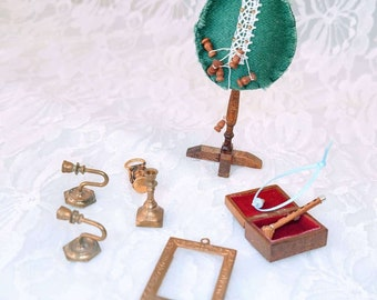 Mixed 9 Piece Lot of Miniature Dollhouse Home Accessories Handmade and Brass ~ 1:12 Scale ~ Vintage Dollhouse Furniture ~ HANDMADE 1970s