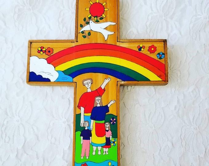 Vintage Wooden Cross ~ Folk Art ~ El Salvador Religious Handmade ~ Signed by Artist ~ El Salvadoran Folk Art
