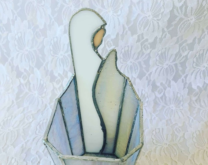 Handmade Leaded Stained Glass Virgin Mary Candle Holder ~ Catholic Icon ~ Religious Virgin Mary Mother Madonna