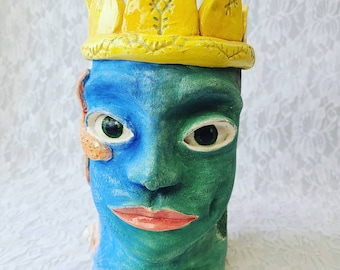 Weird and Unique! Altar Piece ~ Unusual Modern Art Pottery ~ King of the Sea and the Forest ~ Head Vase ~ Retro Kitsch