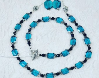 OOAK Jewelry SET~ Earrings, Bracelet, Necklace ~ Blue Teal Swarovski Crystals and Black Czech Glass Beads with STERLING Silver Accents