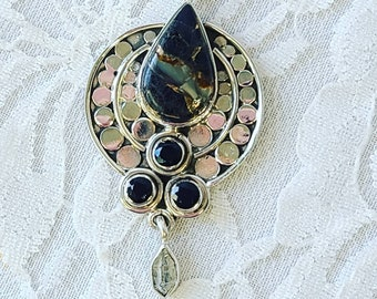 Amazing Black Turquoise, Onyx, and Herkimer Diamond Sterling Silver Necklace ~ Mysterious and Wild ~ Protection Energy