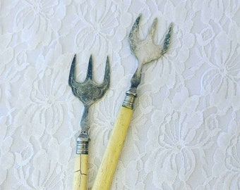 CLEARANCE Set of Two EPNS Meat Forks with Ivorine Faux Bone Handles ~ See Photos ~ Sold As-Is