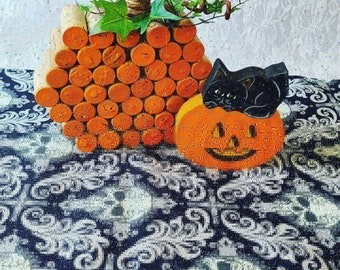 "Handmade! Halloween Table Runner ~ 35"" by 12"" Glow in the Dark SKULLS ~ Black ~ Quilt Style ~ OOAK Fall Decor ~ Purple on the Underside"