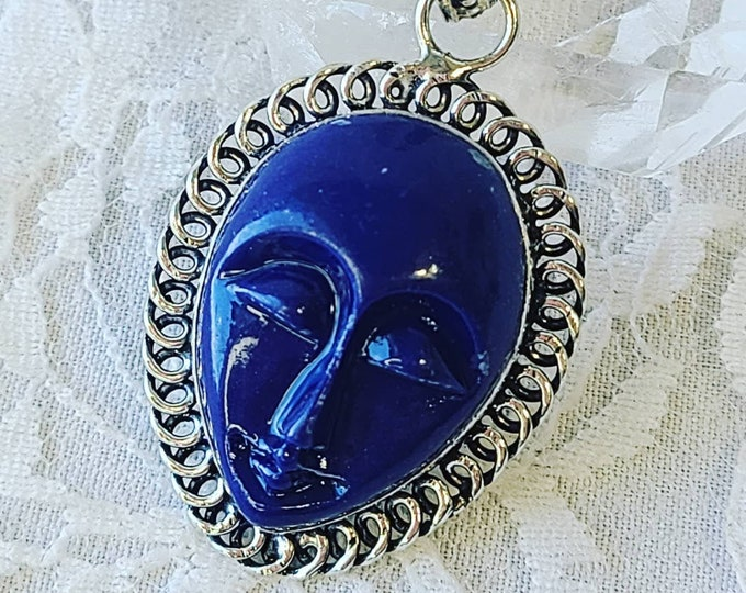 Sajen Goddess Pendant Carved Lapis Lazuli ~ Balinese ~ Talisman Amulet ~ 925 Sterling Silver Pendant Necklace