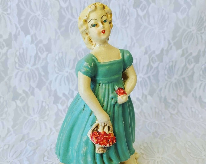 """Vintage UNMARKED Girl with Apples Chalkware Figurine Large ~ 6.5"""" by 3.25"""" ~ Consco? Napco? Norcrest? Lefton? ~ Rare and Amazing"""
