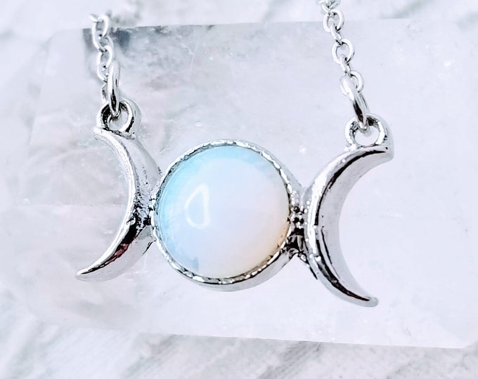 No Reserves ~ Spellcast Triple Moon Goddess Pendant with Opalite ~ Witchcraft ~ Georgia Coven ~ Goddess Hera