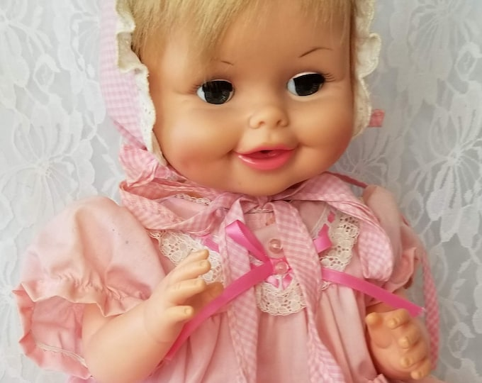 """1968 Baby Party Doll By Deluxe Topper Jointed Hard Plastic 18"""" Doll ~ Sleepy Eyes"""