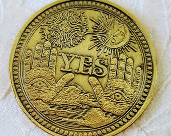 Restocked! ONE (1) Antique Gold Divination Coin with Carrying CASE ~ Yes or No ~ Oracle Coin ~ Witchy Tools ~ Reading Tools ~ Altar Supplies