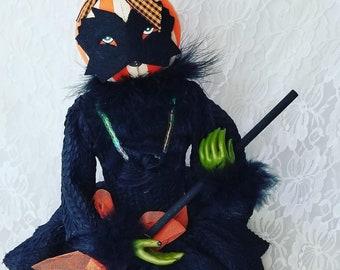 "Boutique Pumpkin Head Witch Doll 1990s Halloween Decor 24"" Figurine Halloween Collectible Shelf Sitter OOAK Doll"