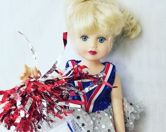 Cheerleader Doll ~ Collectible jointed Vinyl Doll ~ 12 inch ~ Removable Pom Poms