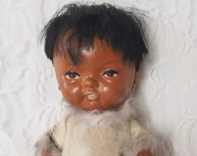 "ALASKA ~ Souvenir Doll ~ Native American Indian Eskimo ~ 1950s Hard Plastic Dolls ~ Inuit Eskimo Doll 7"" ~ Hong Kong"