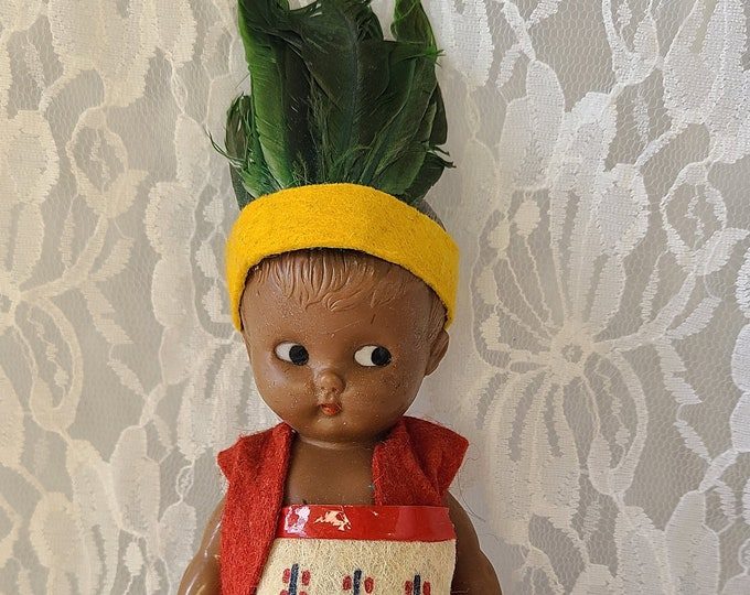 """Rare! Celluloid 1950s Vintage 6"""" Ethnic Kewpie Doll in Native American Outfit  ~ Jointed Arms & Legs ~ Moving Arms ~ Real Feather Headress"""