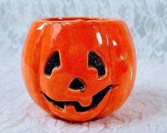 Ceramic Pumpkin Candle Holder ~ Halloween Decoration ~ Fall Décor ~ Handmade ~ Art Pottery ~ Signed