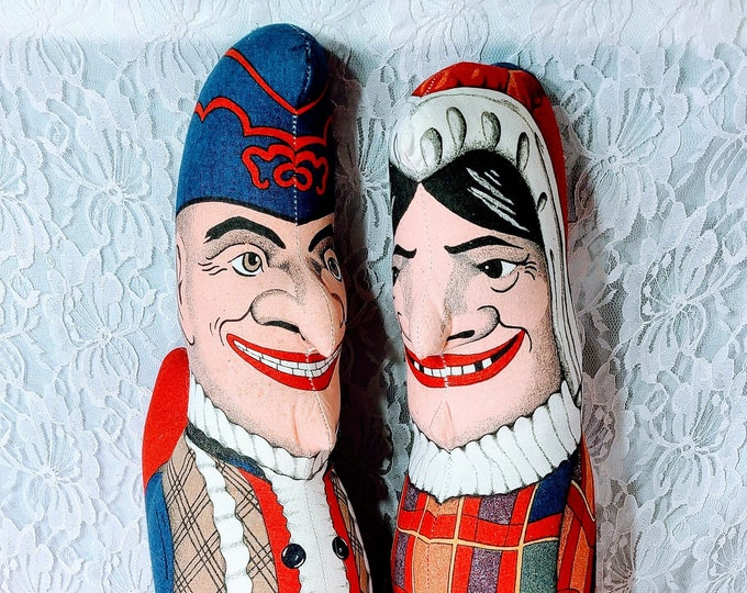 """Vintage 1990 PUNCH and JUDY 24"""" Plush Stuffed Dolls ~ Set Of Two (2) ~ Made In USA ~ By The Toy Works"""