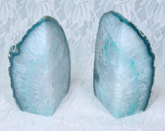 Agate Geode Blue Bookends ~ Set of Two Pieces ~ Heavy Stone Crystal Book Ends ~ Crystal Energy