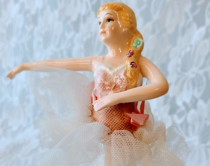 """Vintage Schmid Ballerina Girl  Music Box ~ Wearing Tulle Tutu ~ Plays """"Claire de la Lune"""" ~ Yamada Originals ~ Signed ~ Marked ~ Sold As-Is*"""