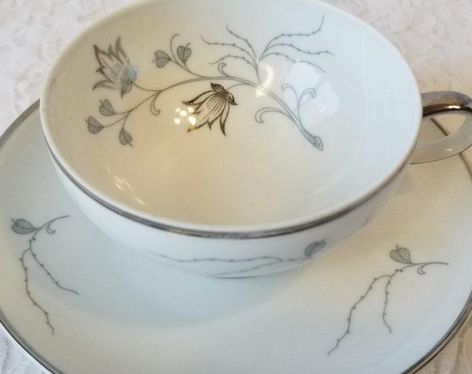 Teacup and Saucer ~ Platinum ~ Beautiful Baronet China Eschenbach Bavaria ~ Silver Arbor ~ Collectible Tea Cup & Saucer