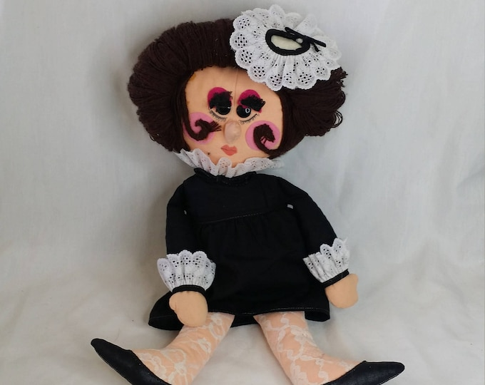 Vintage 1980s Cloth Fabric French Maid 20 Inch Doll ~ Great Condition ~ Embroidered Face ~ Unusual Doll