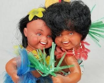 "Vintage Hong Kong Hawaiian Hawaii Music Box Dolls ~ Surf and Sand ~ Plays ""Tiny Bubbles"" ~ RARE ~ Anekona? Evergreen Dolls?"