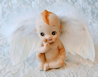 OOAK Porcelain Kewpie Cupid Doll with Wings ~ Assemblage Doll ~ Art ~ Repurposed Broken Doll ~ Mixed Media ~ Unique Gift for Lover!