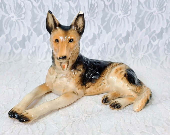 """Antique 1940s Ceramic German Shepard Dog Figurine Statue ~ Handmade ~ Brown and White Bisque ~ Numbered ~ 4.5"""" x 7.5"""""""