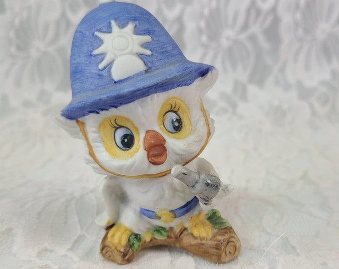 """Vintage Bisque Porcelain Owl Figurine ~ London Bobby Beat Cop ~ Keystone Cop Owl with Pistol and Tall Cap ~ 3"""" Tall"""