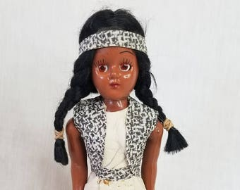 """Native American Indian Vintage 1950s Celluloid 7"""" Plastic ~ Real Leather Clothing ~ Souvenir Doll ~ Travel Doll"""