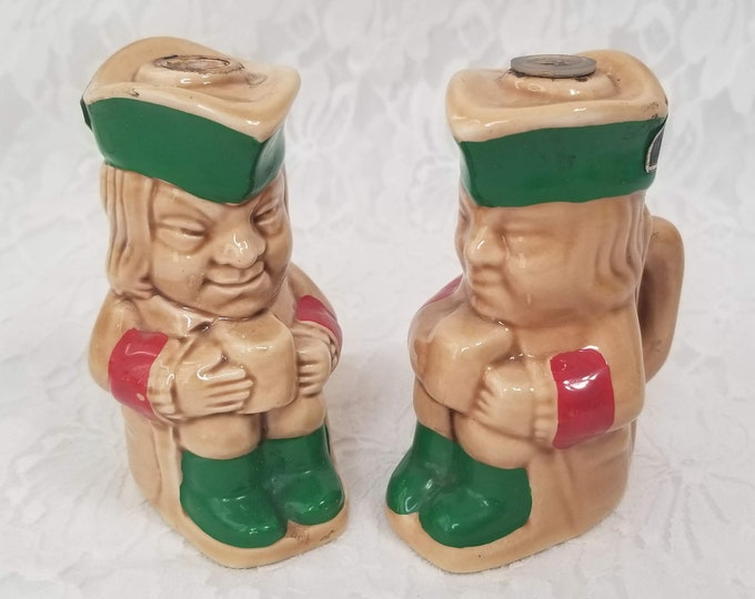 Set of 2 Porcelain Figural Toby Mead Liquor Bottle ~ McLech Advertising Collectible Figural Decanter Figurine