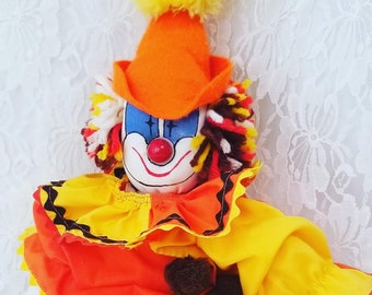 "Spooky Handmade Orange Creepy Clown Harlequin French Mime Jester Clown Stuffed Cloth Doll ~ 13"" Rag Doll"